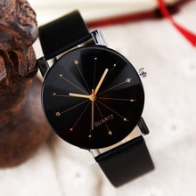 Men's and women's universal couple watches solid color leather strap line analog quartz ladies watch