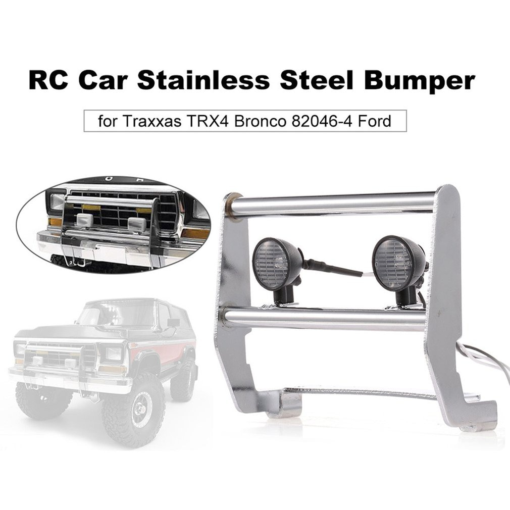 For Traxxas Trx4 Rc Climbing Car 82046-4 Stainless Steel Bumper With 2 Led Lights Model Upgrade Accessories enlarge