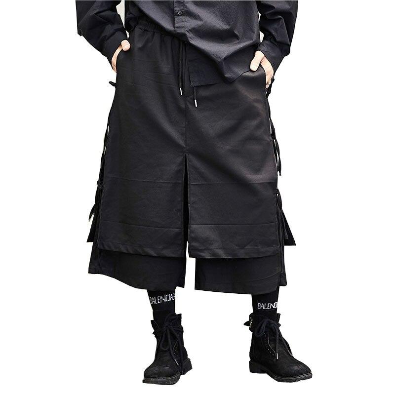 الرجال اليابان نمط كيمونو تنورة بانت الذكور موضة عادية الحريم بنطلون مرحلة ارتداء واسعة الساق بانت الشرير الهيب هوب ازياء