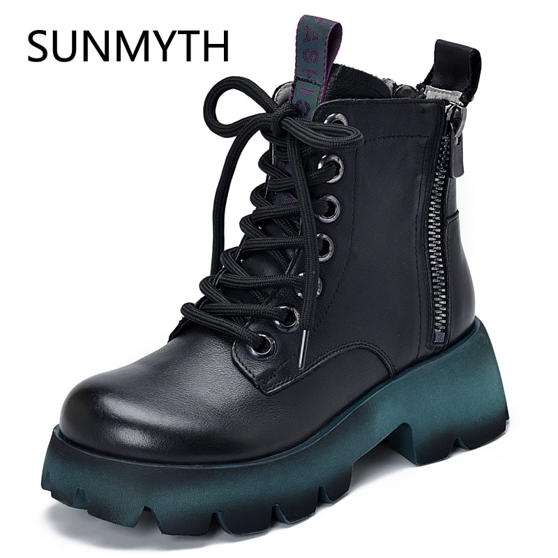 Genuine Leather Wome Boots For Martin Boots 2022 New zipper Winter Shoes Women Ankle Boot Fur Platfo