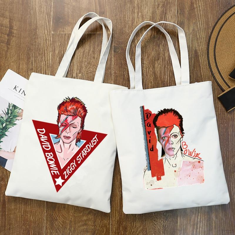 Rip David Bowie England Rock Music Pop Star Print Shopping Bags Girls Fashion  Hip Hop Hipster Casual Pacakge Hand Bag
