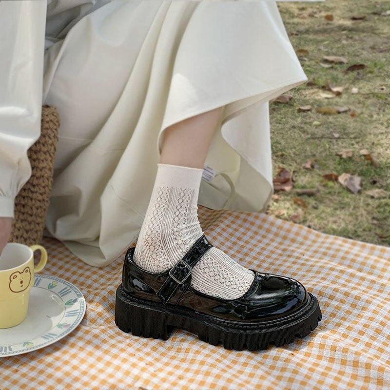 DEEPTOWN  Women's Lolita Shoes Kawaii Mary Jane Platform Casual Leather Fashion Black 2021 Spring Au