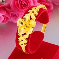 classical 24k yellow gold plated bracelet bangles for men flower blooming gold bracelet wedding engagement fine jewelry gifts