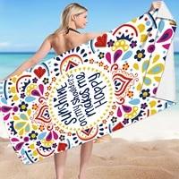 beach towel letter flower print water absorbent bathing towel rectangular beach mat for adults