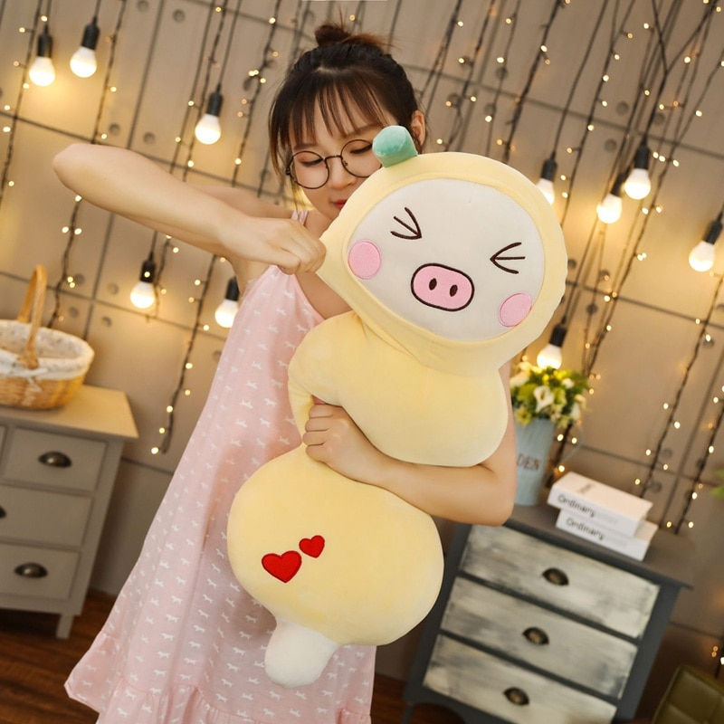 80cm Funny Simulation Apple Chicken&Lemon Pig Plush Toy Soft Cartoon Animal Strawberry Cat Stuffed Doll Candied Fruit Girl Gift  - buy with discount