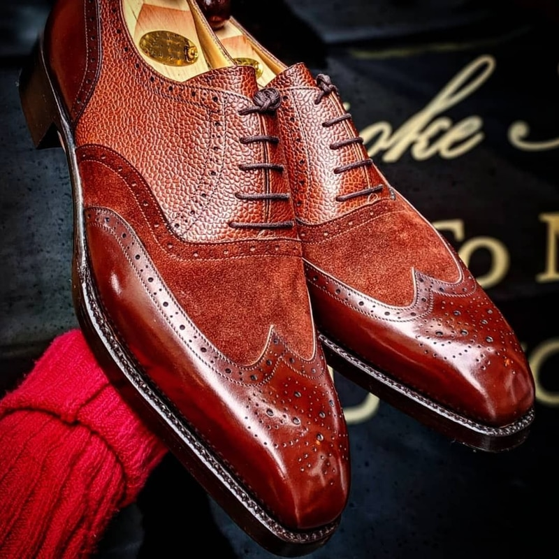 Men Shoes Red-brown PU Stitching Faux Suede Square Head Low-heel Hollow Lace-up Fashion Business Cas