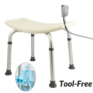 Safe Non-slip Shower Stool with Handles 6 Gears Height Adjustable Shower Chair Bench Stool for Seniors Elderly Adults