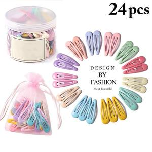 24Pcs/Set 5cm BB Clips Snap Hair Clips No Slip Metal Hair Clip Barrettes For Baby Girls Toddlers Kids Women Accessories