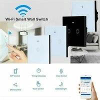 Interrupteur mural intelligent EU  pour maison connectee  avec application Alexa  telephone  Assistant Google  telecommande