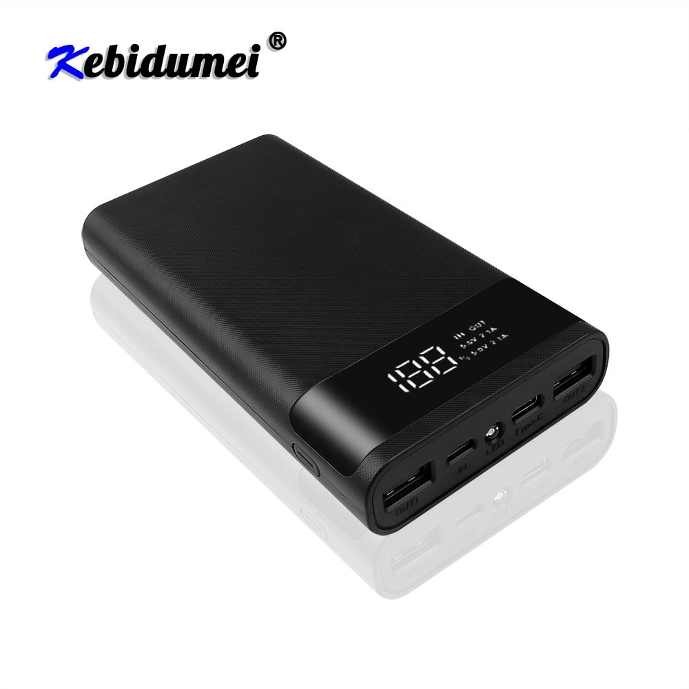 Kebidu 5V Dual USB portátil 6x18650 banco de energía caja de batería carcasa DIY tipo C Micro caja de cargador de teléfono de carga rápida USB