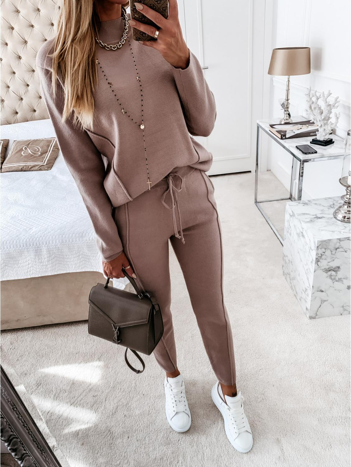 Winter Autumn Women Knitted SetTwo Piece Set Tracksuit Velvet Oversize Female Ropa De Chandal Mujer Invierno Casual Jogging Suit