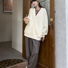 Causal Pants Women Leisure Comfortable Solid Color V-neck Sweater Cardigan Women's Loose Style Casua