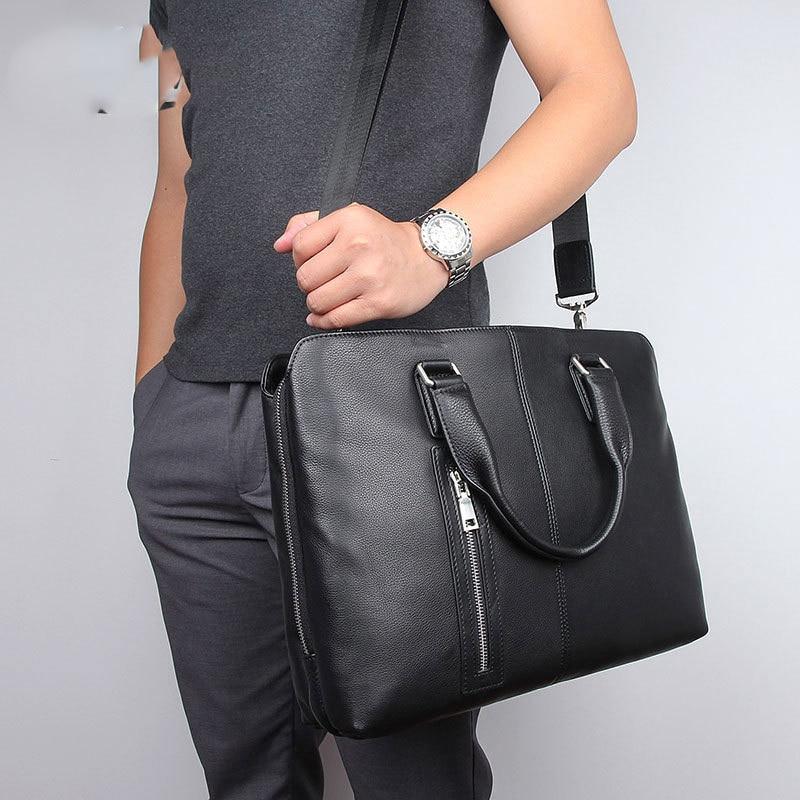 Мужская сумка, деловой портфель из натуральной кожи, Большая мужская сумка-мессенджер для ноутбука Maletines Hombre Cuero, мужской портфель для ноутб...
