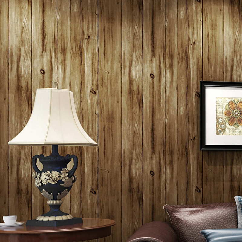 Американская Ретро ностальгическая деревянная настенная Бумага коричневая деревянная доска контактная бумага деревенская древесина стен...