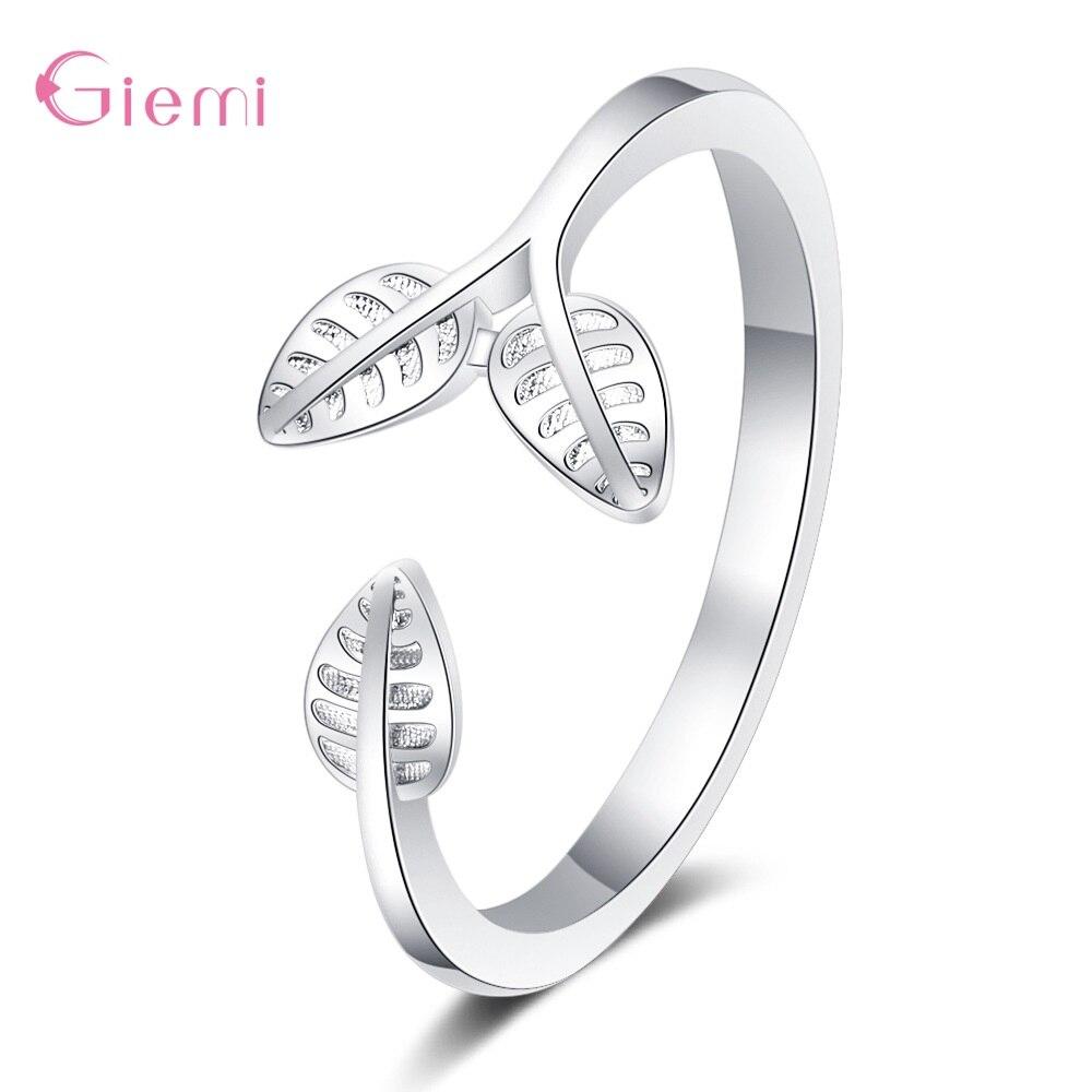 Аутентичные 925 пробы Серебряные Листья дерева кольца на палец для женщин супер красивые серебряные ювелирные изделия подарок эффектные рег...