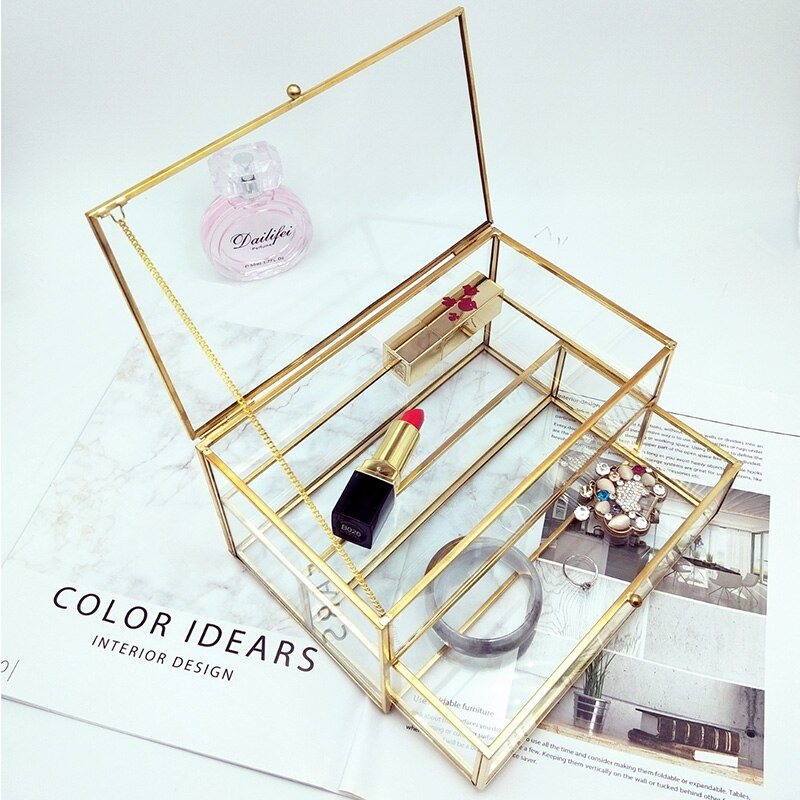 Organizador de maquillaje cajón de almacenamiento estilo coreano fresco Simple chica pendientes joyería caja anillo Multi-función joyería pequeña caja