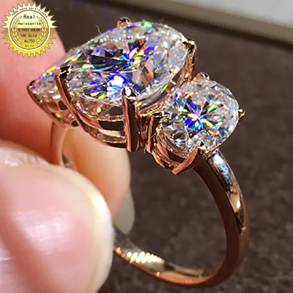 18K Au750 خواتم الذهب الوردي الزفاف الذكرى حفلة خطوبة خاتم 5 قيراط البيضاوي مويسانيت خاتم الماس العصرية الأنيقة
