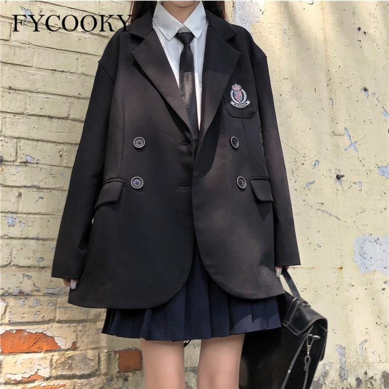 Японский Униформа Jk, черные блейзеры, женские свободные однобортные куртки с вышивкой в студенческом стиле, женские осенние куртки, новый с...