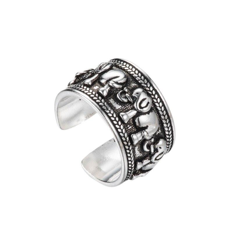 Женские открытые кольца со слоном REETI, серебряные кольца с защитой от аллергии в винтажном стиле, ювелирное изделие из стерлингового серебр...