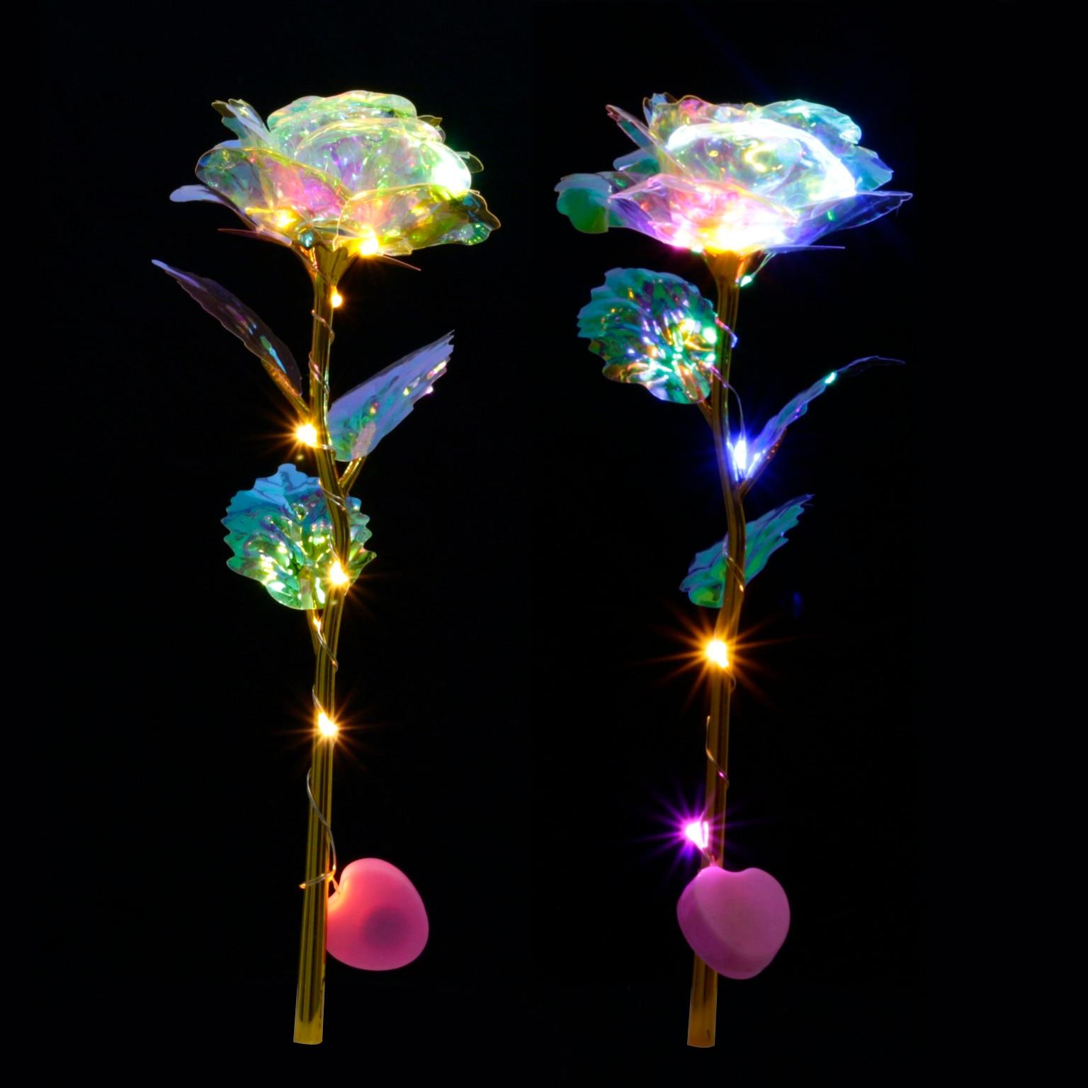 Романтическая красочная светодиодная сказочная Роза, искусственные галактические розы, цветы для девочки, подруги, подарок на день Святого Валентина, Свадебная вечеринка, домашний декор