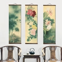 chinese style flower lotus painting canvas decorative painting bedroom living room wall art posters solid wood scroll paintings