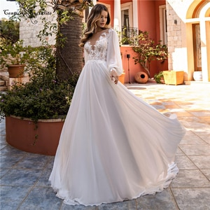 Boho Wedding Dress 2020 Beach Bride Dresses Long Sleeve Lace Appliques Chiffon Bohemian Bridal Gowns Plus Size Vestido De Noiva