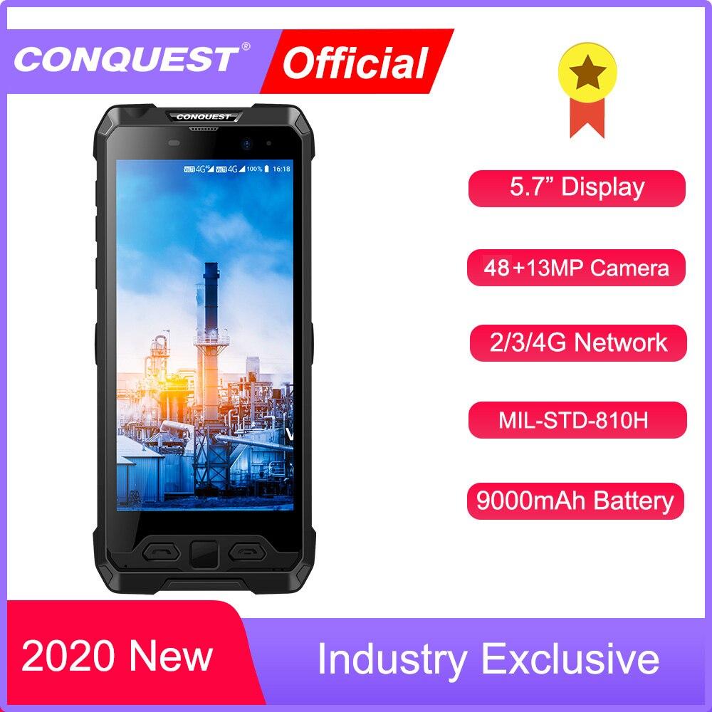 Перейти на Алиэкспресс и купить 2021 обновления CONQUEST S19 IP68 Водонепроницаемый прочный смартфон мобильный телефон отпечатков пальцев Face ID Android 8,1 Android11 48MP Камера