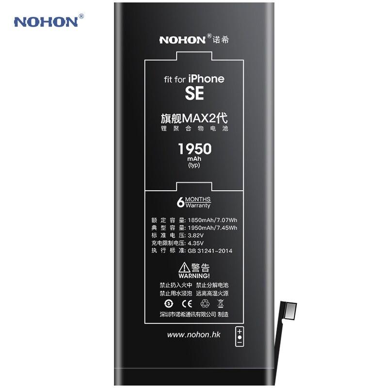 Nohon Battery For iPhone SE 2016 iPhoneSE 5SE 1850mAh-1950mAh High Capacity Li-polymer Batteries For Apple iPhone SE SE1 + Tools enlarge
