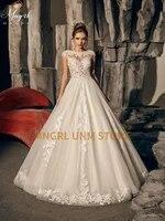 mngrl white elegant wedding dress chiffon o neck full length dress sleeveless 3d flower wedding gown custom made