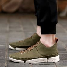 New Men Fashion Pu Lace Up Solid Color Flat Bottom High Top Casual Shoes Car Sewing Comfortable Hot