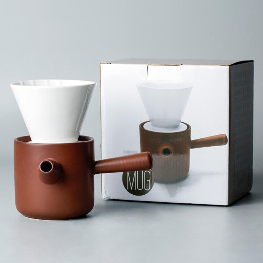 Купить с кэшбэком Ceramic Coffee Filter Cup Set Creative Hand Coffee Maker Filter Pot Portable Home Milk Tea Coffee Pot Coffeware Kit Free Paper