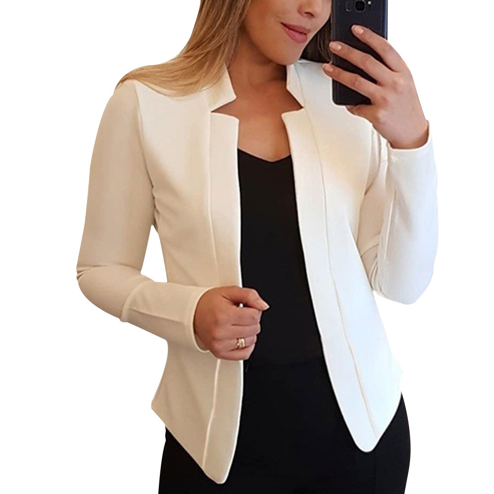 New Women Blazer Thin Long Sleeve Blazer Solid Color Office Lady Suit Coat 2020 Fashion Women Basic
