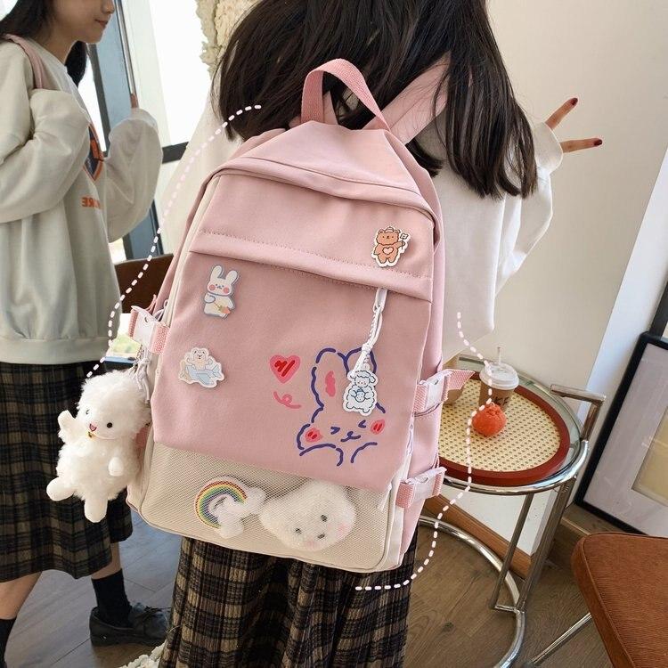 Japanese Style Backpack Women Kawaii School Bags For Girls Travel Backpack New Fashion Rabbit Print Backpacks Mochila Feminina