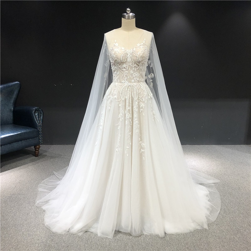 2021 Newest High Quality Customized Ivory V-neck Sleeveless With Cape Tulle with Beadings A-line Floor Length Wedding Dress