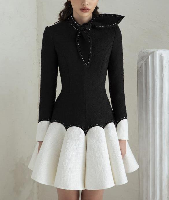 خياط متجر فستان أسود صغير أسود أبيض منتفخ الإناث فستان فاخر فساتين شبه رسمية فستان الأميرة فستان أسود أبيض