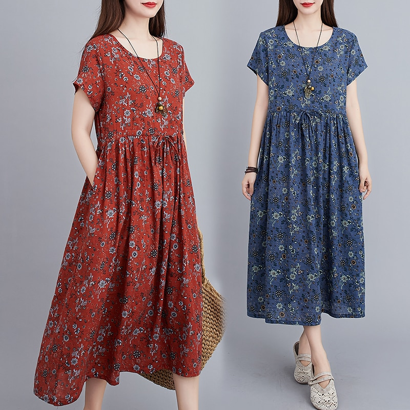 Cotton and Linen Floral Short-Sleeved Dress Summer Artistic Retro Waist-Controlled Slimming Drawstri