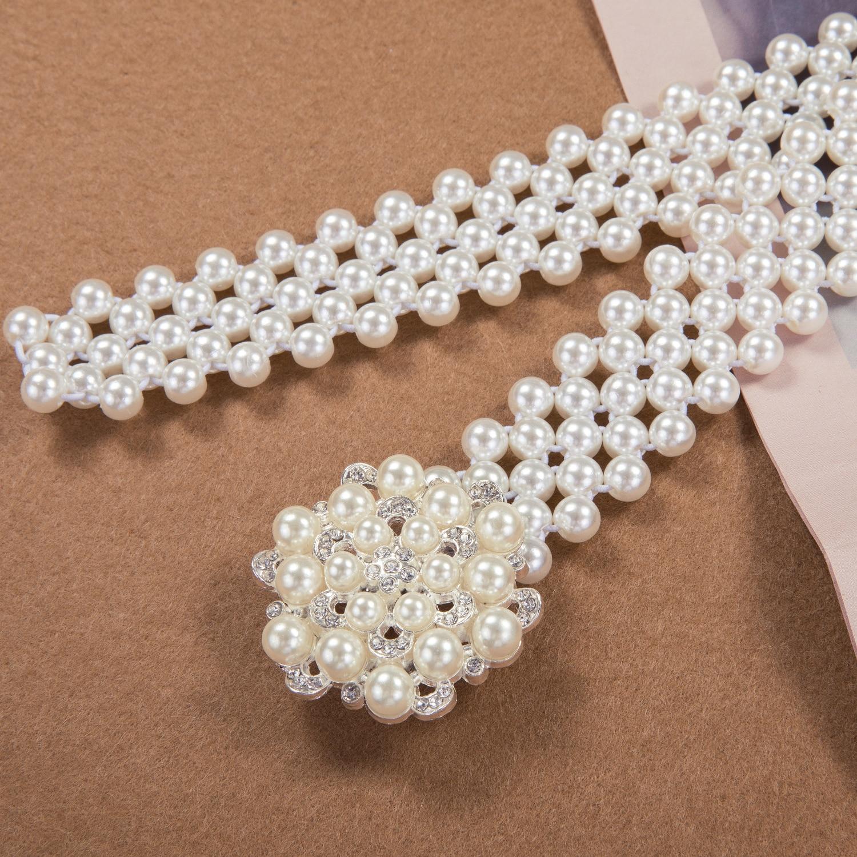 Women Luxury Elastic Buckle Crystal Faux Pearl Waist Chain Girls Party Dress Rhinestone Pearl Belt Stretchable DiBanGu faux pearl espadrille flatform sliders