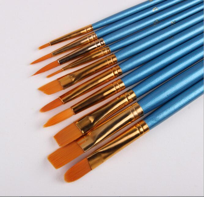 Blue 10Pcs/Set Watercolor Gouache Paint Brushes Different Shape Round Pointed Tip Nylon Hair Painting Brush Set Art Supplies