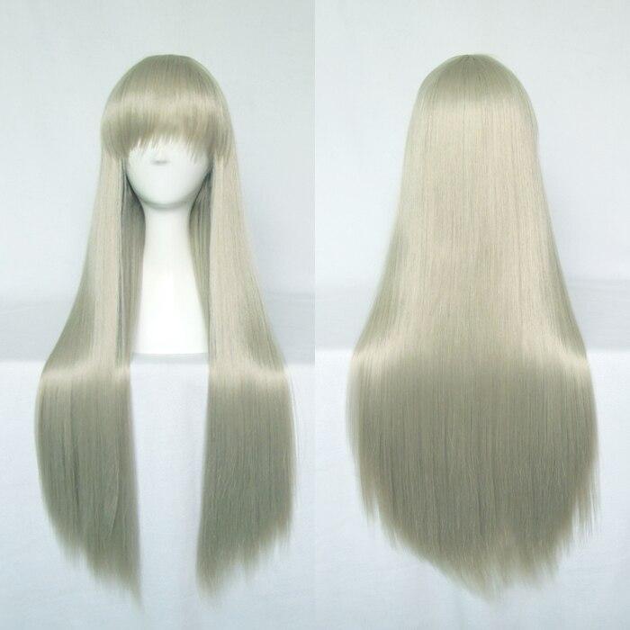 Anohana honma meiko cosplay perucas de fibra de alta temperatura cabelo sintético 80cm 31 polegadas longo cabelo reto + tampão de cabelo livre