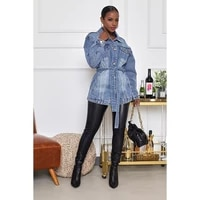 fashion womens denim jacket new autumn casual hot sale lapel single breasted solid color mid length denim jacket donsignet