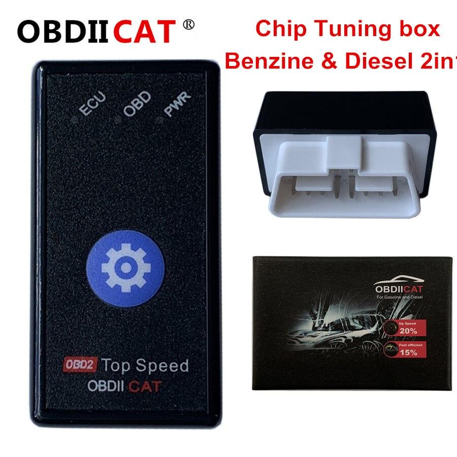 OBDIICAT-HK01 Супер OBD2 чип Тюнинг инструмент дизель и бензин 2в1 коробка автомобильные товары экономят топливо Улучшить мощность ECU чип тюнинг кор...