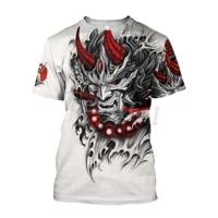 tessffel japan tattoo mask 3d print fashion t shirt summer streetwear men and women harajuku samurai top short sleeve style 4