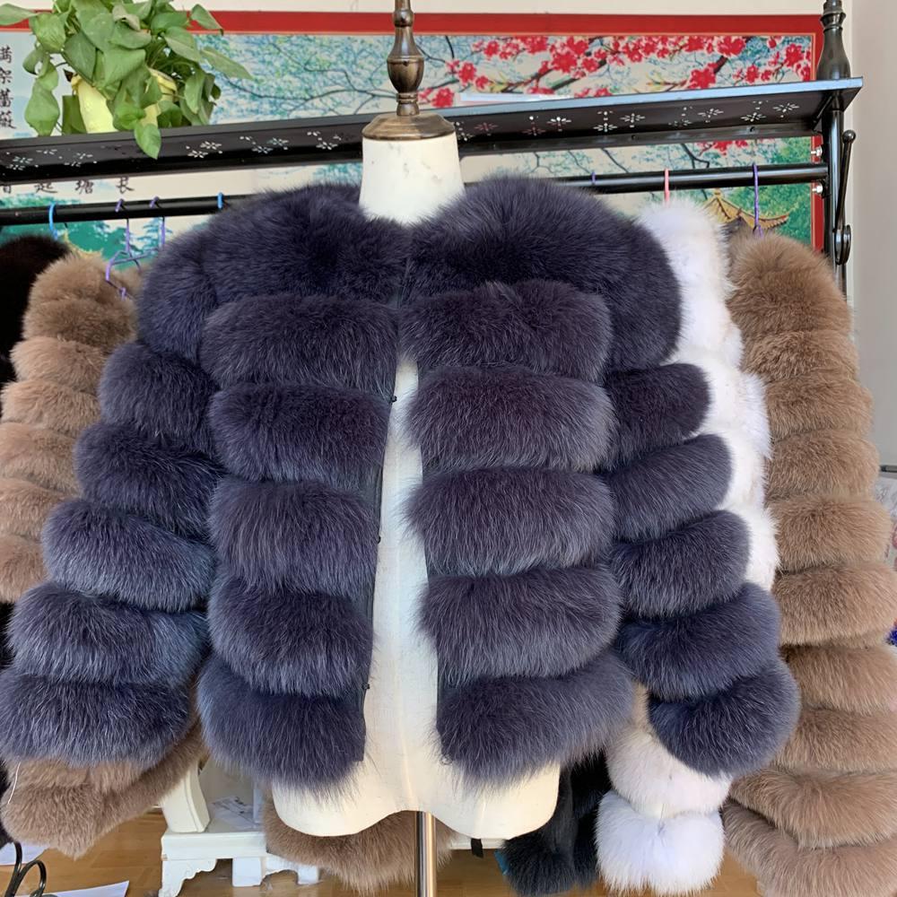 NEW 50CM Women Warm Real Fox Fur Coat Short Slim Winter Genuine Fur Jacket Fashion Outwear Luxury Natural Fox Fur Coat For