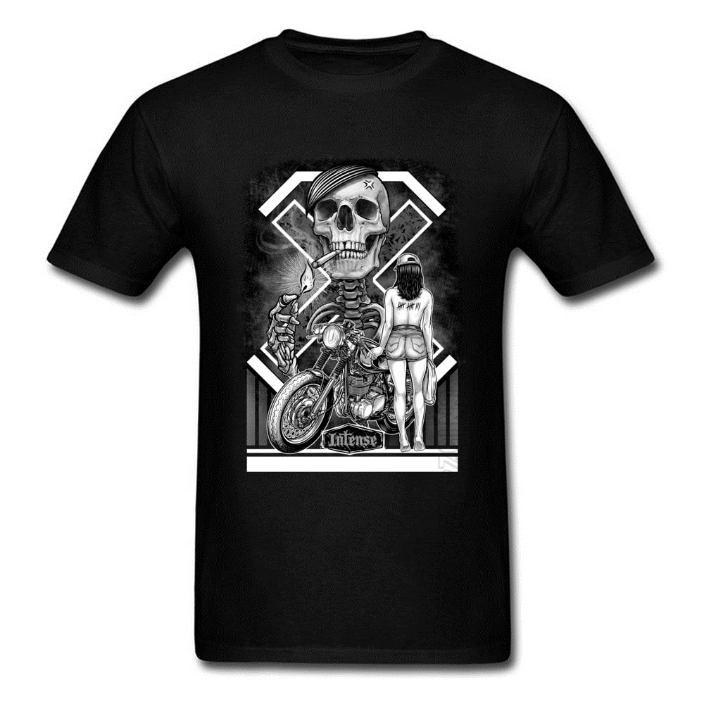Мотоциклетные крутые футболки Rider с черепом, мужские летние новые Модные Винтажные дизайнерские футболки, сексуальная модель 2018