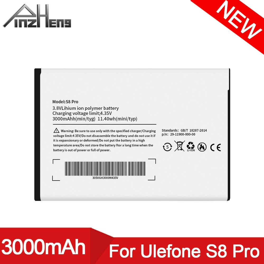 PINZHENG Mobile Phone Battery For Ulefone S8 S8 Pro Batterie 3000mAh 5.3inch MTK6737 MTK6580 Replace