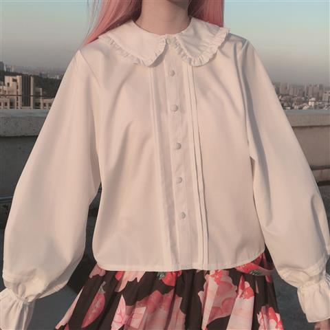 Белая Студенческая рубашка 2021, милая рубашка с кукольным воротником и расклешенными длинными рукавами, небольшая свежая свободная дешевая ...