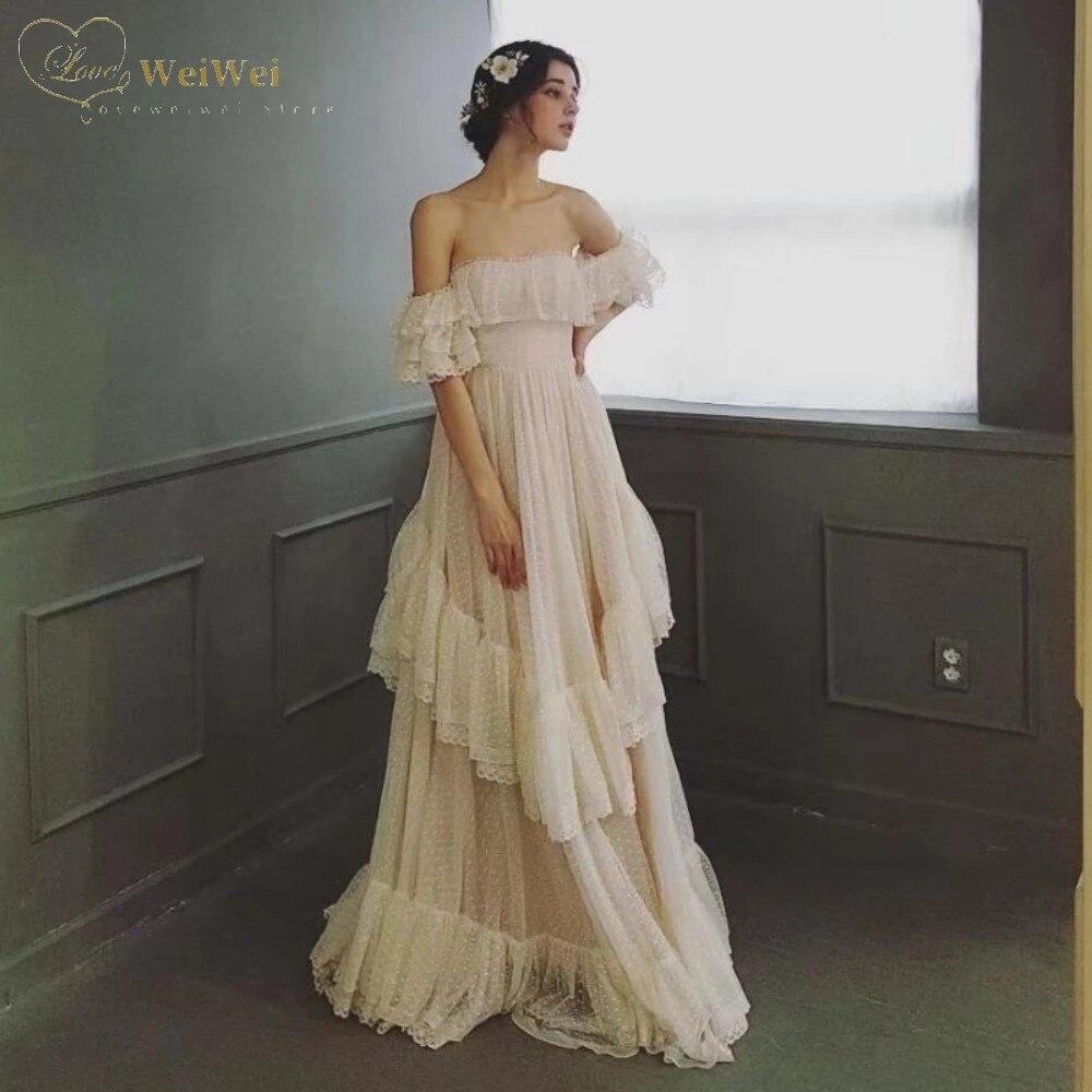 Review Elegant Strapless Neck Wedding Dress A-Line Off The Shoulder Short Sleeve Floor Length Ruffle Tiered Vestidos De Novi
