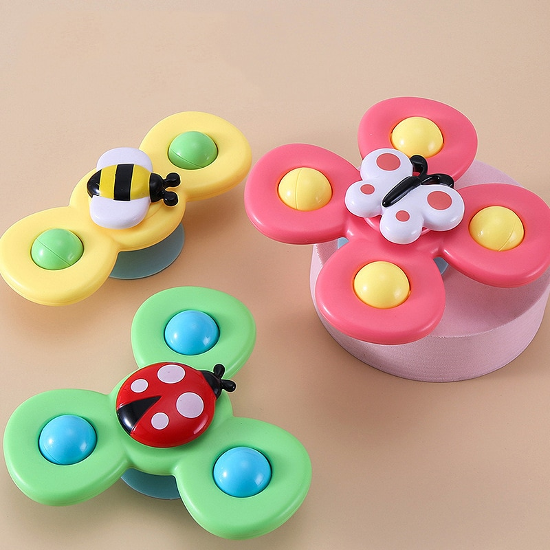 Children Classic Funny Kids Toys Cute Cartoon Insects Spinner Toy Baby Rattle Spin Top Bath Toys For Children free shipping enlarge