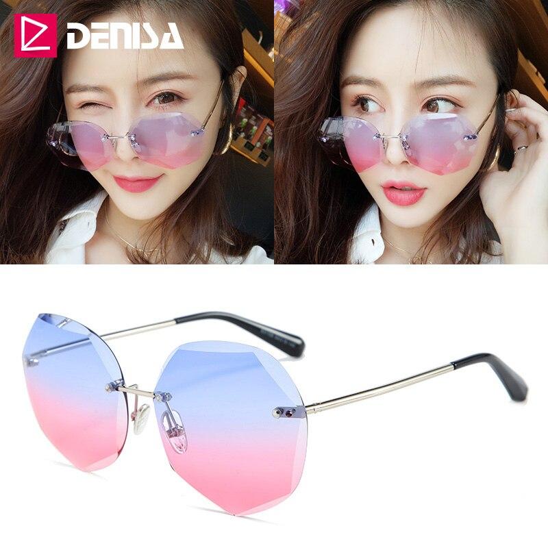 DENISA אופנה כחול ורוד ללא שפה משקפי שמש נשים 2019 חדש באיכות גבוהה שיפוע גבירותיי משקפי שמש סדיר עדשת משקפיים G31159
