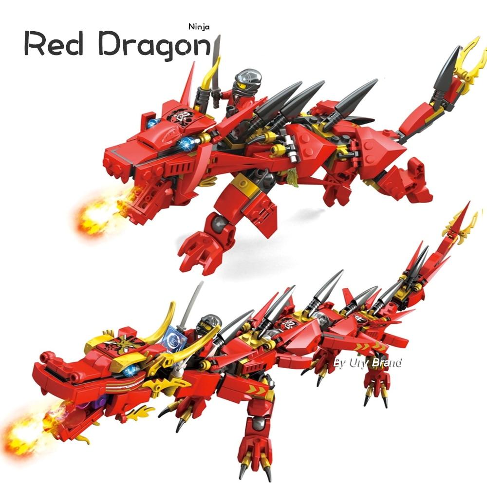 Ninjagoes Series Kai's Flying Red Ninja Dragon Mech Set 2in1 Set Figures Educational Building Blocks Toys For Children Gifts